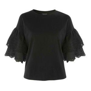 Topshop    Eyelet Layer Sleeve T-Shirt    Black